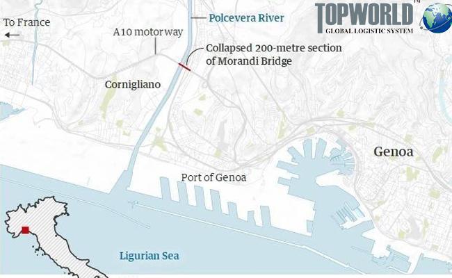 意大利热那亚公路坍塌,出口意大利,意大利空运进口,进口意大利货代