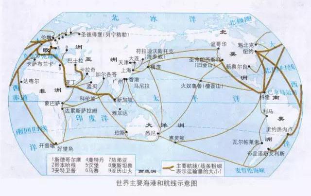 全球基本港口及航线对照表