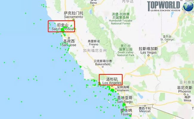美国加州沿岸主要港口