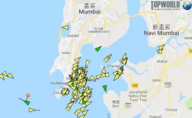 截止印度港有大量船舶在等待
