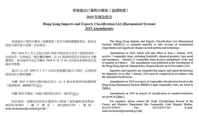 香港海关刚刚公布新版商品HS编码,2019年生效